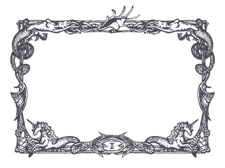unicorn fish: Vintage frame with mermaids and sea horses