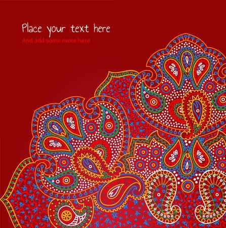 indische muster: Paisley und Blumen Einladungskarte Illustration