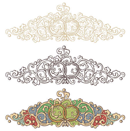Set of wedding renaissance borders Vector