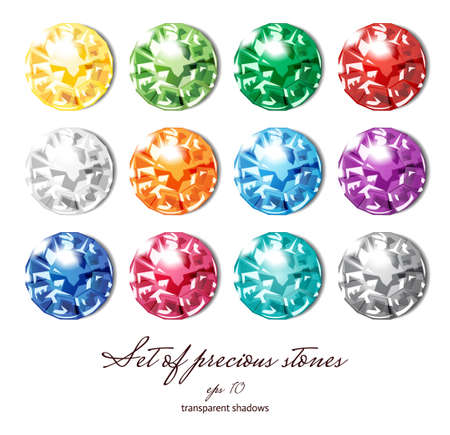 Crystals icons set of 12 colors - precious jewelry stones collection isolated on white Illustration