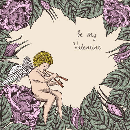 valentine card with cupid and roses Vector