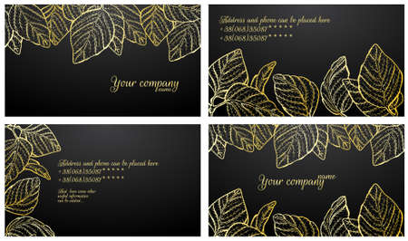 Black with gold stylish business card set Vector