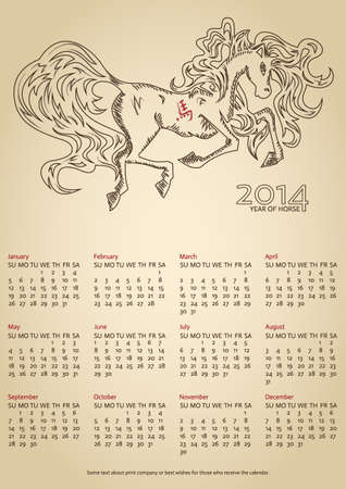 Calendar 2014, ink horse at old parchment, hieroglyph  horse  Vector