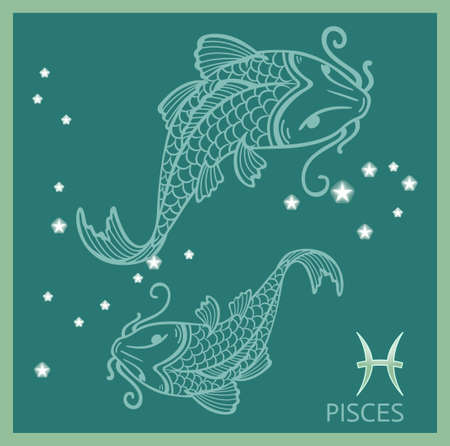 Pisces zodiac sign, constellation Vector