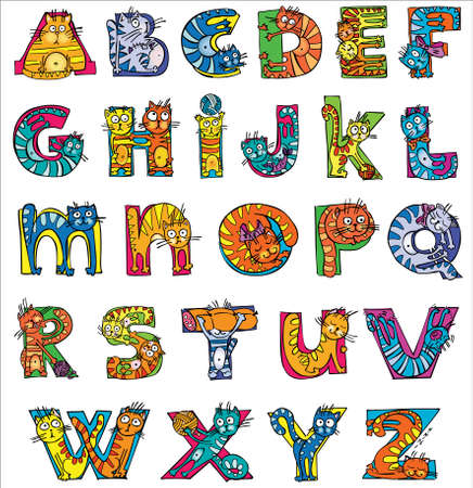 colorful funny cat alphabet 向量圖像