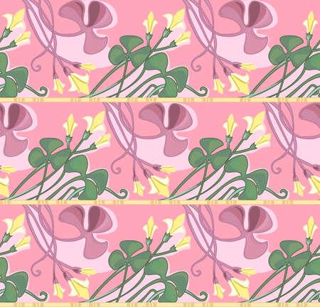 shamrock seamless: Floral seamless texture in art-nouveau style, pink shamrock Illustration