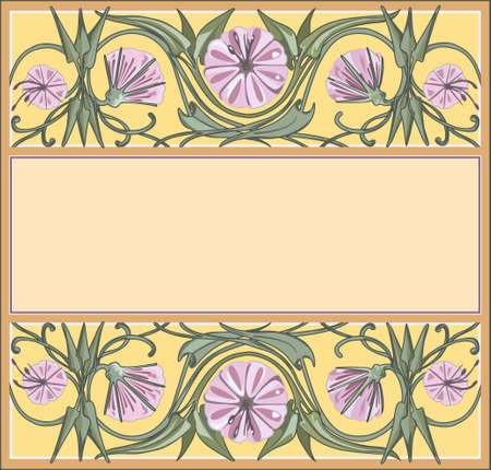 floral frame template, art-nouveau style Vector