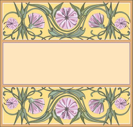 nouveau: floral frame template, art-nouveau style Illustration
