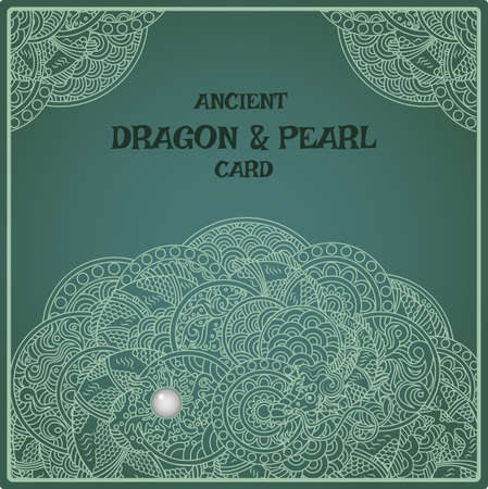 Indigo oriental pearl dragon card Ilustrace