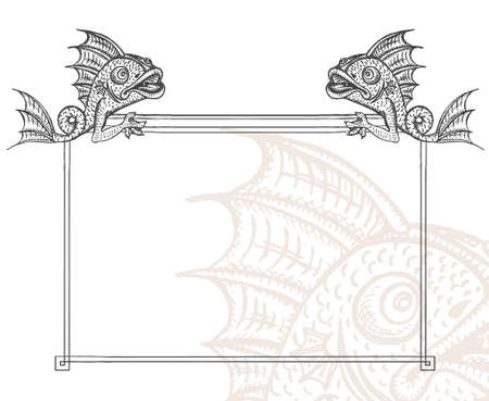 Detailed medieval decorative frame as vintage engraved fish gargoyle, with close up fragment Vector