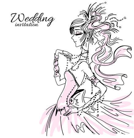 Wedding invitation, bride in pink Vector