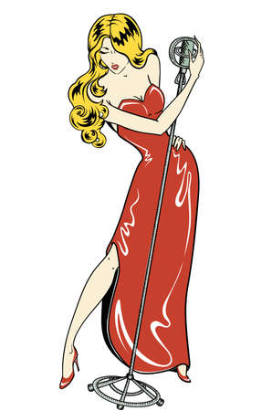 Cantante de cabaret cómics estilo sexy Foto de archivo - 23521508