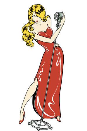sexy cabaret singer comics style
