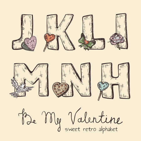 word love: retro Valentine alphabet - j, k, l, m, n, h Illustration