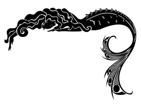 stile liberty: sirena vettore silhouette Vettoriali