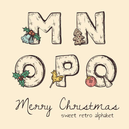 retro christmas alphabet - n, m, o, p, q Stock Vector - 23521548