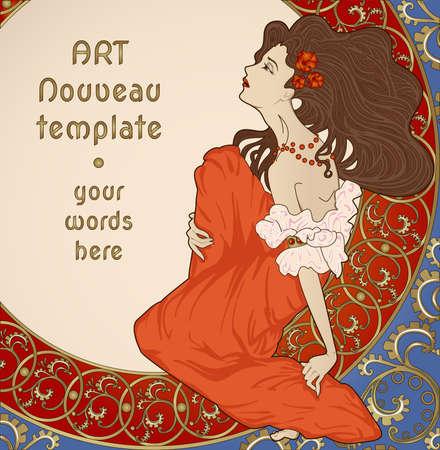 古美術品: 花の豊富なフレーム上に座っている女性とアール ヌーボー様式カード