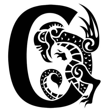 dragon fish: gargoyle capital letter C