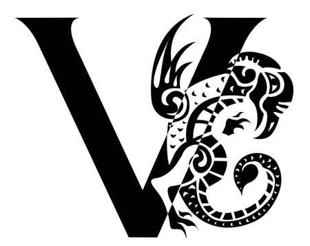 capital letter: capital letter V with gargoyle