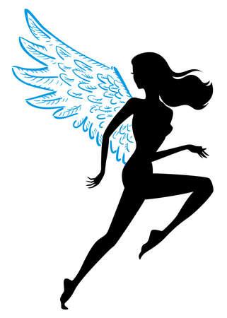 vector illustration runner with wings, female