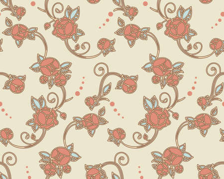 art deco background: victorian roses seamless pattern