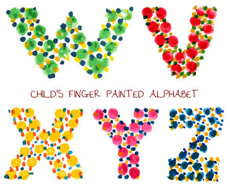 colorful funny paint alphabet s, t, r, u letters Vector