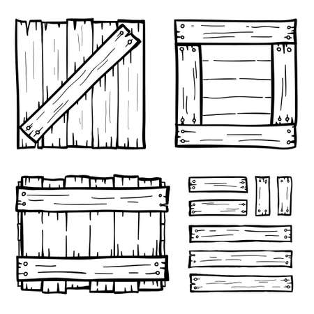 wood plank: Set of wooden box doodles