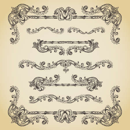 Set of vintage swirls, seamless borders and vignettes Ilustrace