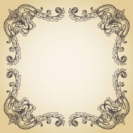 kalligrafische pagina decoratie, hand getekende antieke frame op oud papier