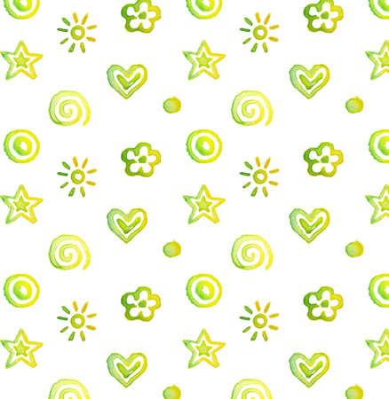 Vector seamless pattern, background watercolor cute doodles isolated on white Vector