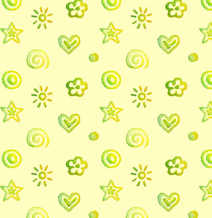 Vector seamless pattern, background watercolor cute doodles on yellow Vector