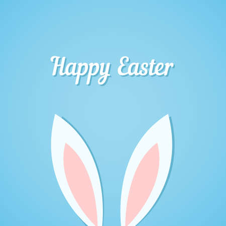 cartoon easter: Easter bunny ears card, blue background