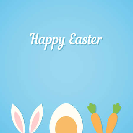 Vector Happy Easter card background with minimal flat rabbit ears, boiled egg and fresh carrot - symbols of Easter Illustration