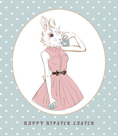 Easter bunny with egg and camera in frame, selfie hipster style, card template Vector