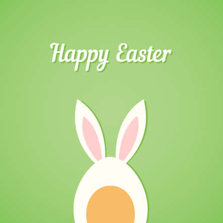 bunny ears: Vector Easter egg with rabbit ears, green card background Illustration