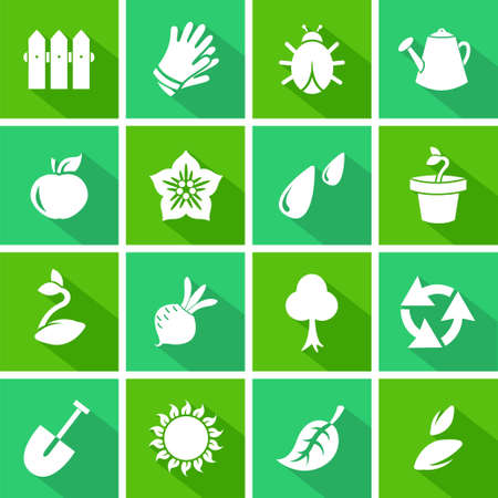 Vector gardening flat icons set  Vector