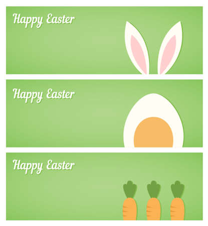 horisontal: Easter banners with egg, rabbit ears and carrot Illustration