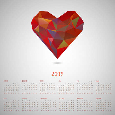 Calendar 2015, triangle modern hipster style flying heart, yerly calendar with hand drawn dates Vector