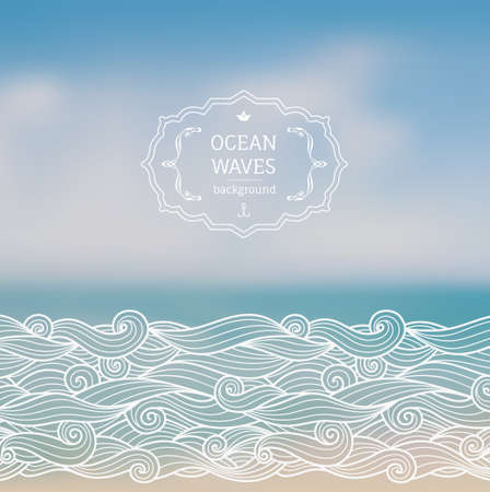 Vector blurred bacckground with sea lanscape and hand drawn sketch waves