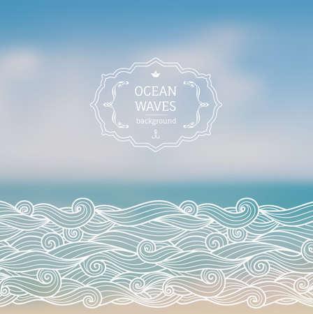 cielo y mar: Vector borrosa bacckground con paisaje de mar y olas mano boceto dibujado