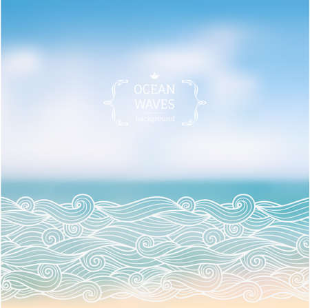 sky: Vector had drawn waves over sea blurred landscape, hipster background