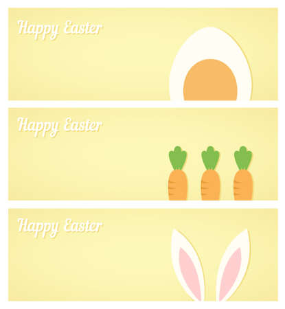 bunny ears: Vector easter banners with minimalistic flat egg, rabbit ears and carrot - symbols of Easter