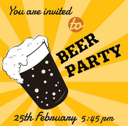 Vector retro bierglas uitnodigingskaart of gebeurtenis poster template