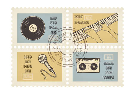 Vector postage stamps of retro music equipment theme, canceled, decorative set for scrapbooking - 4 separated elements Vector