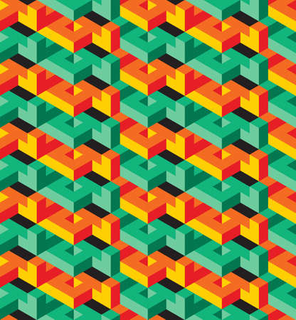 surrealistic: Isometric geometric vector seamless pattern of triangles, green and orange, ready to use