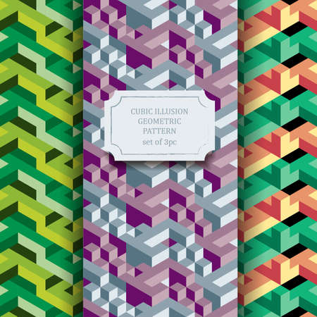 surrealistic: Isometric geometric vector seamless pattern of triangles, set of three hipster textures, ready to use Illustration