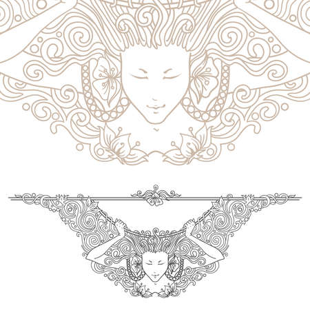 Detailed art-nouveau decorative divider as vintage engraved angel woman, with close up fragment Vector