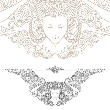 muse: Detailed art-nouveau decorative divider as vintage engraved angel woman, with close up fragment Illustration
