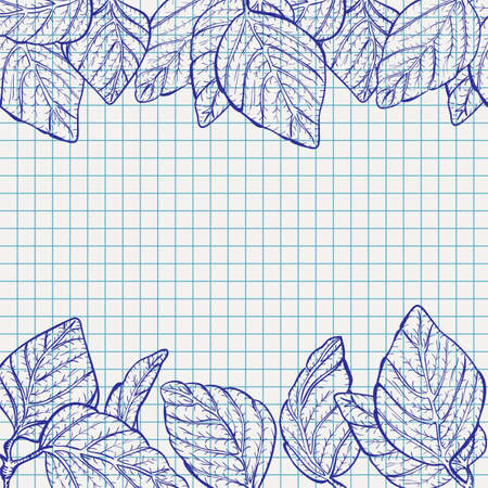 ballpoint: Vector autumn leaves frame on checked school paper drawn by ballpoint pen ink blue, back to school background Illustration