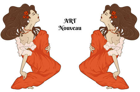 artnouveau: Art-nouveau style vector sitting women isolated on white, detailed design elements